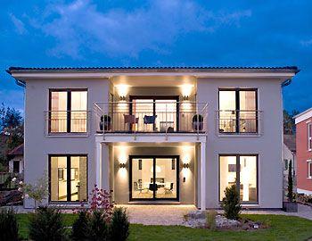 Fertighaus stadtvilla garage  Mediterrane moderne Stadtvilla bauen - mit Garage und Klinker ...