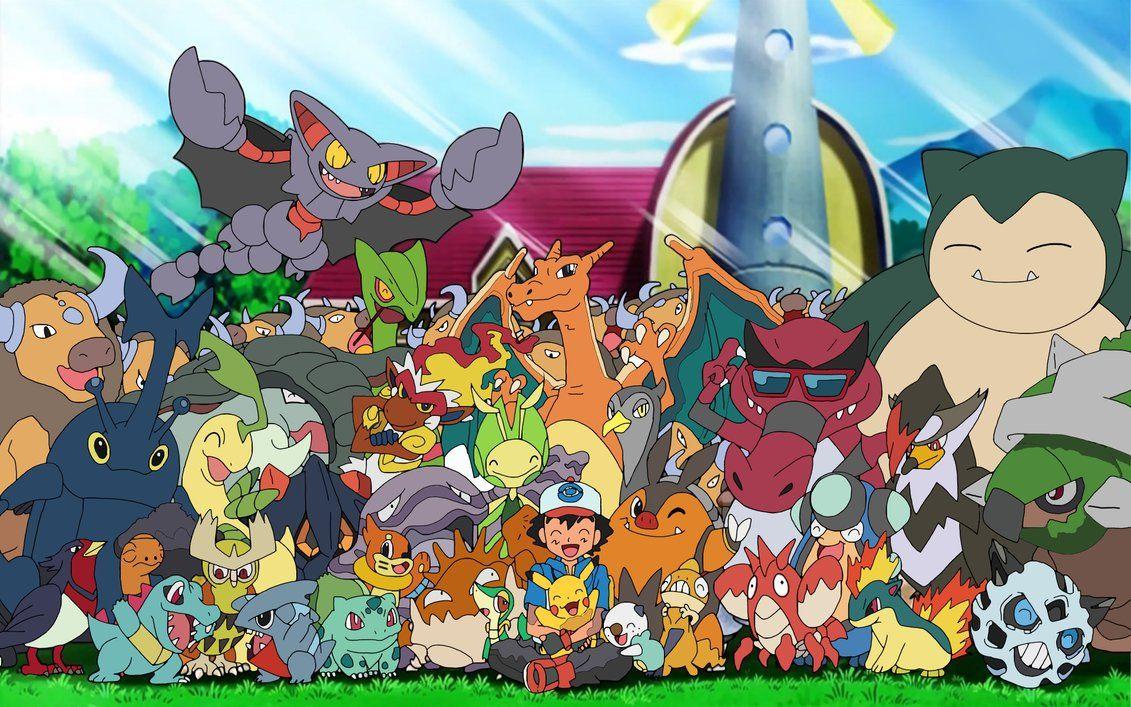 Ash With His Pokemon Pokemon Pictures Pokemon Cool Pokemon