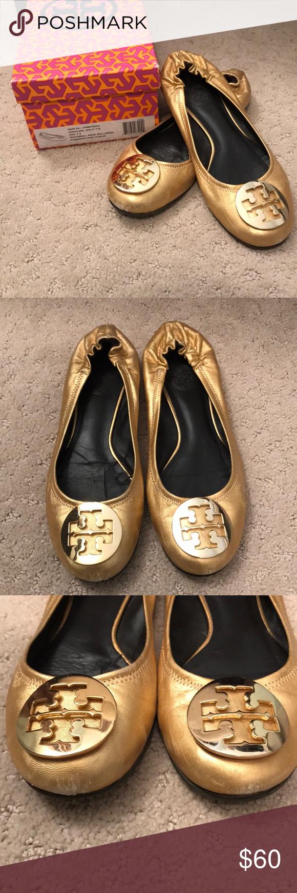 758c5bfa0b267f Authentic Tory Burch Gold Reva Ballet Flats 7.5 Authentic Tory Burch Reva  ballerina flats size 7.5 Made in Brazil