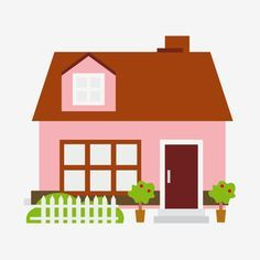 Pink Little House Cartoon Illustration House Clipart Pink Small House Cartoon Building Png And Vector With Transparent Background For Free Download Kartun Gambar Kartun Lucu