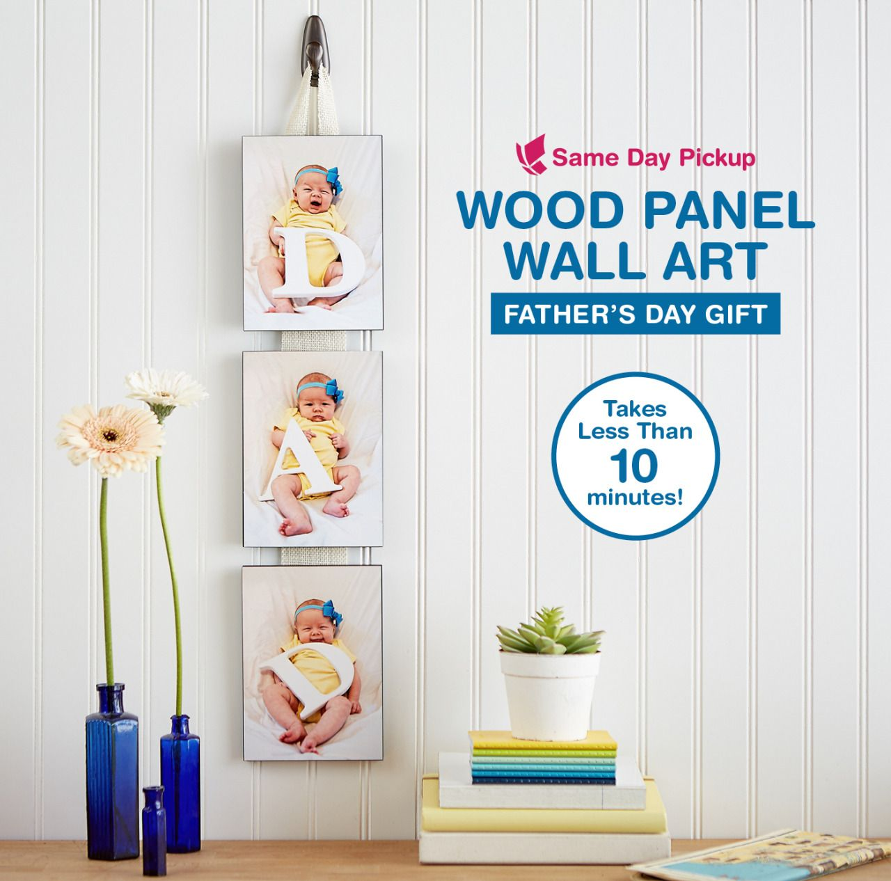 Father's Day Gift Create home decor inspired by Dad's pride and joy. This easy DIY gift is sure to melt his heart on his first Father's Day. Takes less than 10 minutes to build! Wall Decor