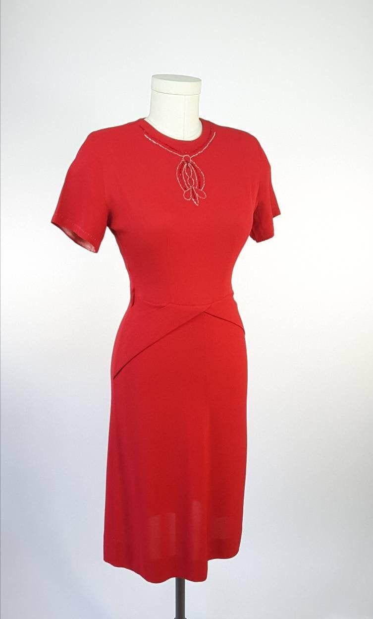 Sz S 1940s True Vintage 1940s Cherry Red Red Wiggle Dress Vintage Red Dress 1940s Dresses [ 1248 x 753 Pixel ]