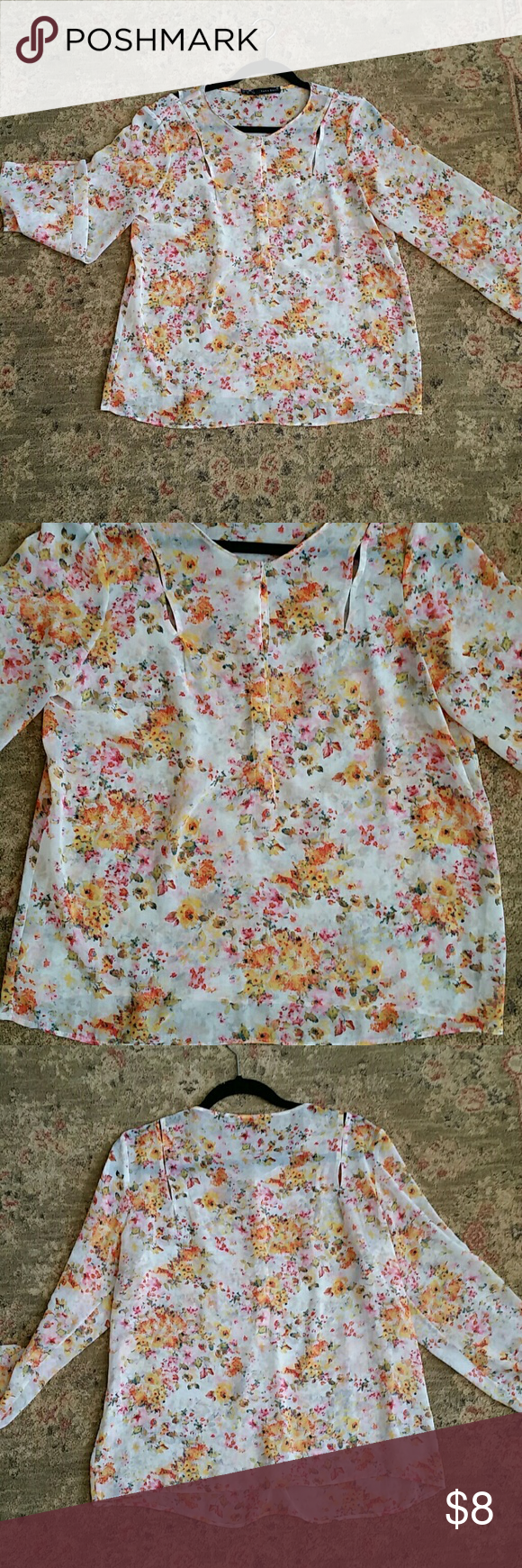 Zara sz L blouse Lovely lightweight blouse by Zara. Sz large but can fit a medium. Zara Tops Blouses