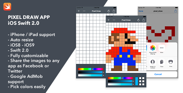 Pixel Draw iOS App   Codecanyon collections   Pixel drawing, Mobile