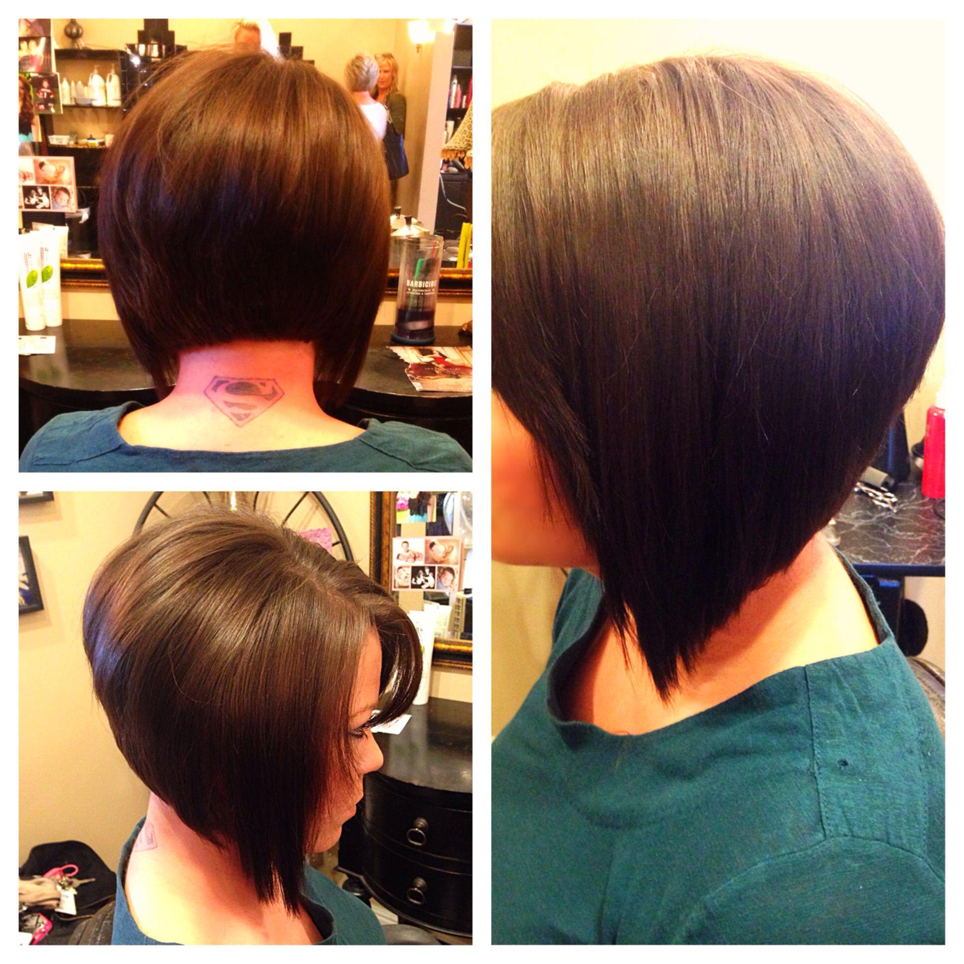 Short stacked layered bob inverted hair style haircut ...