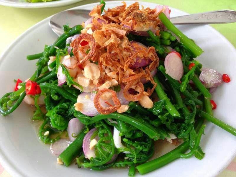 Thai Style Picy Vegetable Fern Salad Yum Pak Kood ยำผ กก ด อาหารเพ อส ขภาพ อาหารคล น อาหารใต