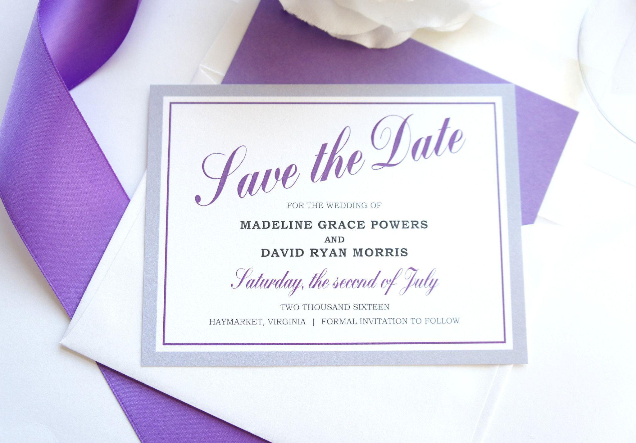 Purple and Gray Save the Date - DEPOSIT | Purple wedding invitation ...