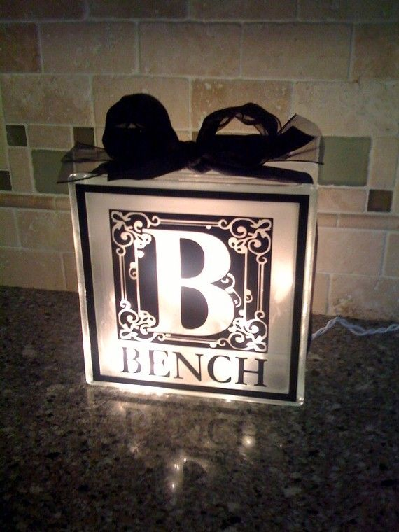 Elegant Monogrammed, Personalized glass block