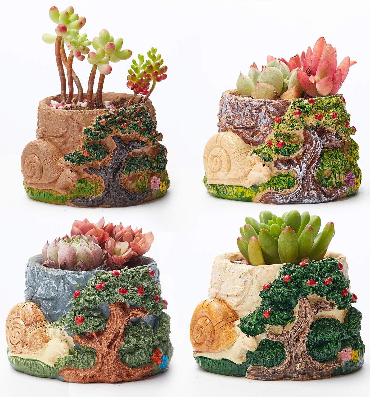 Handcrafted Succulent Plants Pots Snail Planter Pot Animal Base