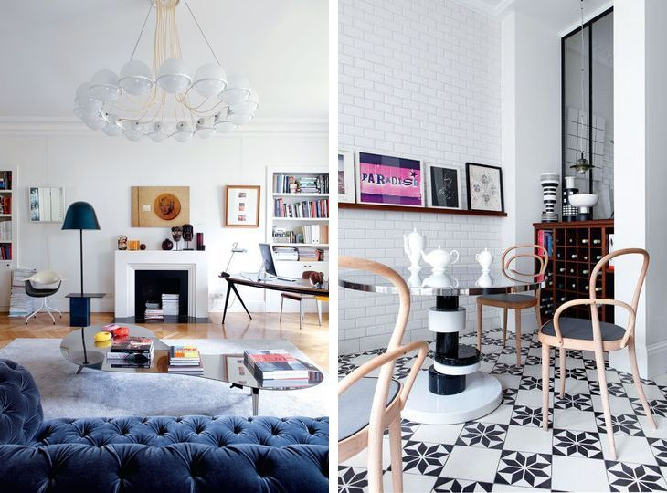 love that light fixture and the blue chesterfield! design