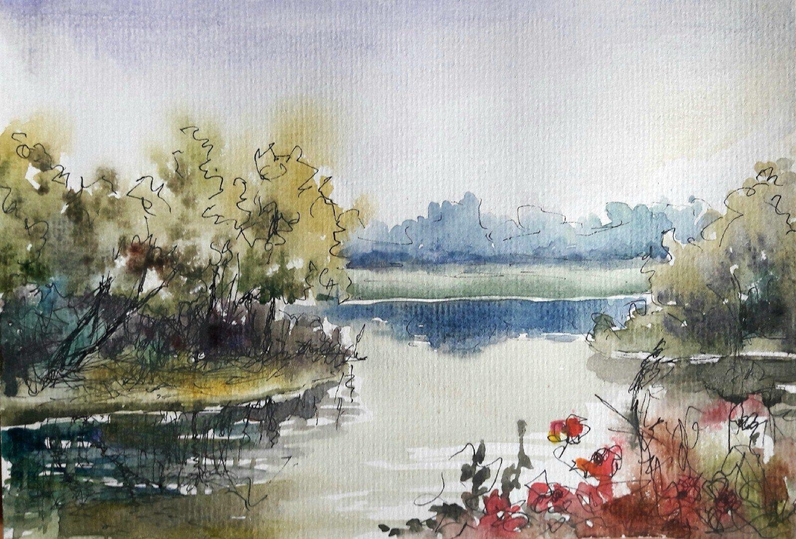 Aquarell Grafik Bilder Original Landschaft Blumen See Abstrakt