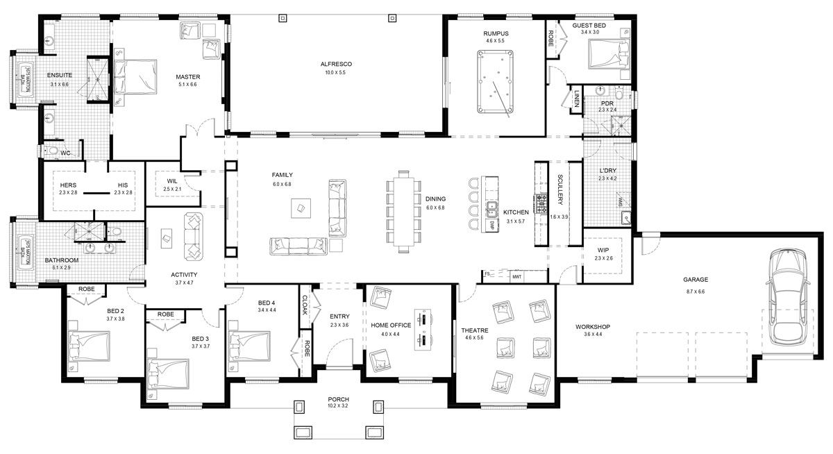 Floor Plan Friday 5 Bedroom Acreage Home New House Plans Floor Plans 6 Bedroom House Plans