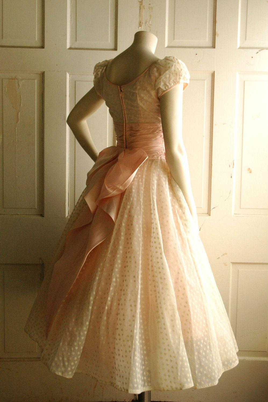 S pink wedding dress vintage pastel tea length dress style