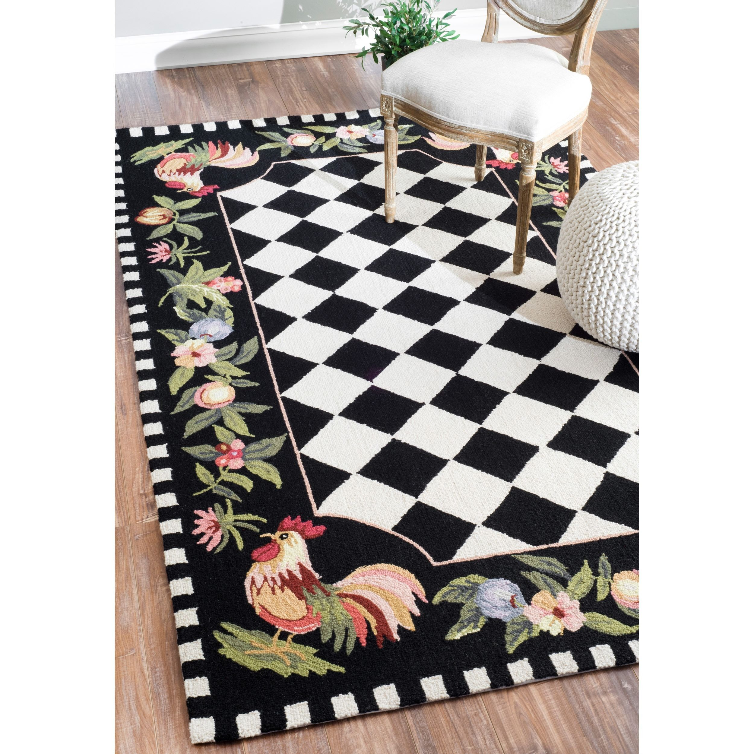 NuLOOM Hand Hooked Moroccan Rooster Checkered Wool Rug X   Overstock™  Shopping   Great Deals On Nuloom   Rugs