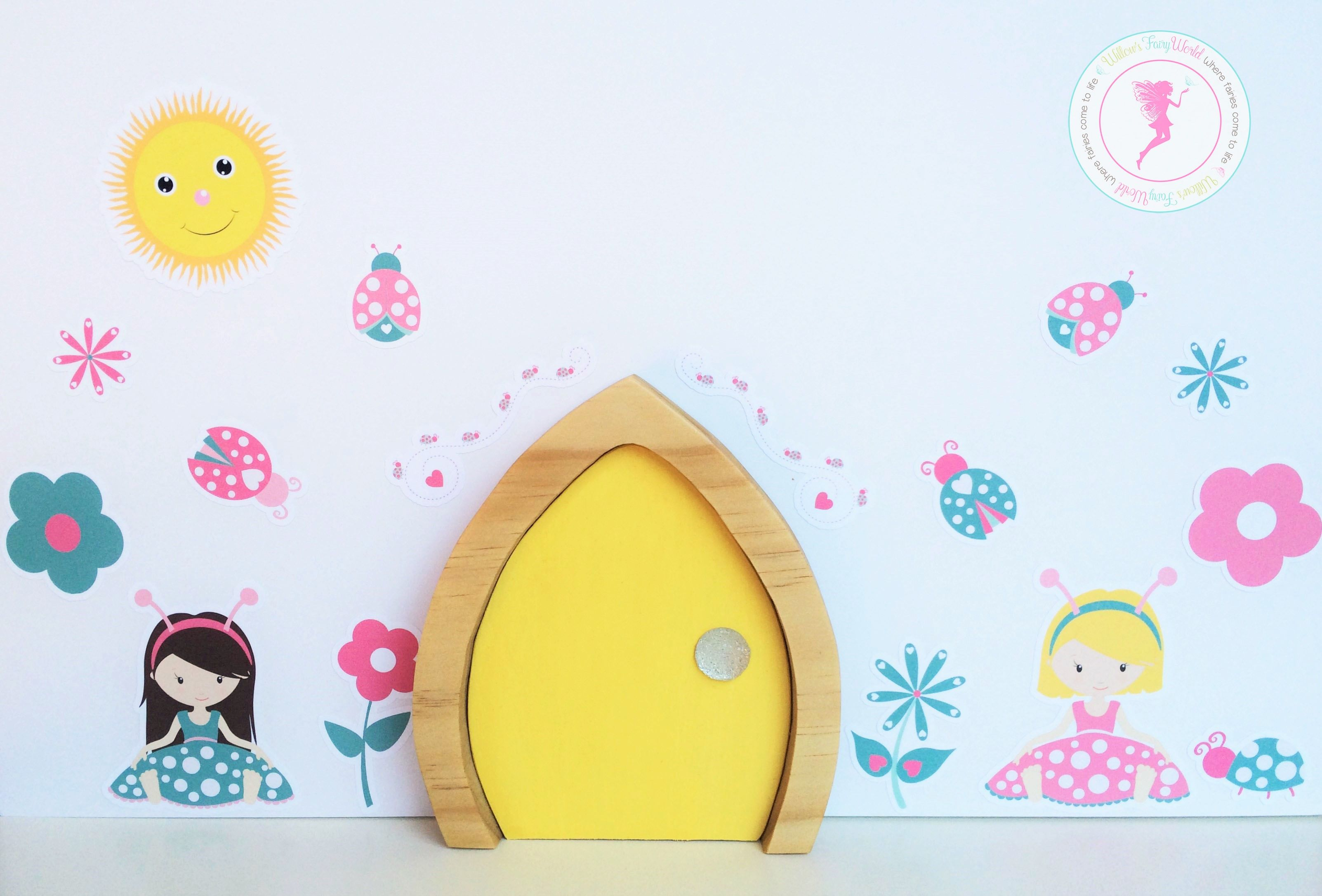 Large wooden fairy door with vinyl ladybug fairies wall stickers ...