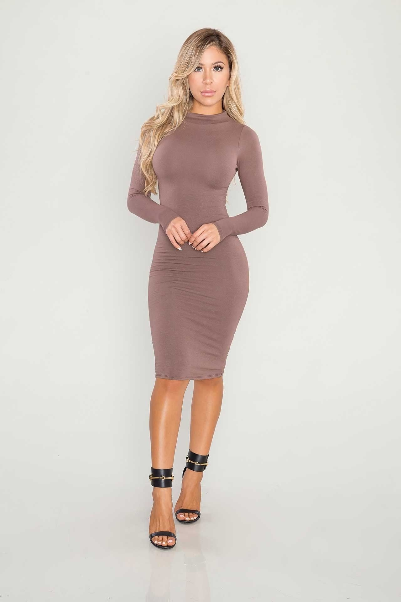 Body concept midi dress brown fall fashion pinterest