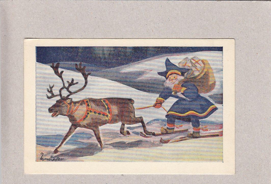 Knüpfer - Kerstman op ski's - een rendier te trekken - de oude kaart - Huuto.net