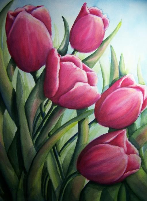 Easter Tulips Painting - Easter Tulips Fine Art Print ...