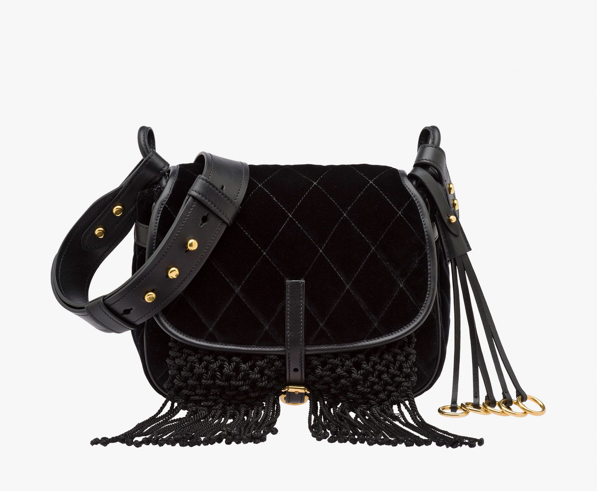 20b41fcf1f61 Prada Corsaire calf leather and velvet bag with fringe Leather shoulder  strap Gold-plated hardware Metal lettering logo on rear Buckle closure One  outside ...