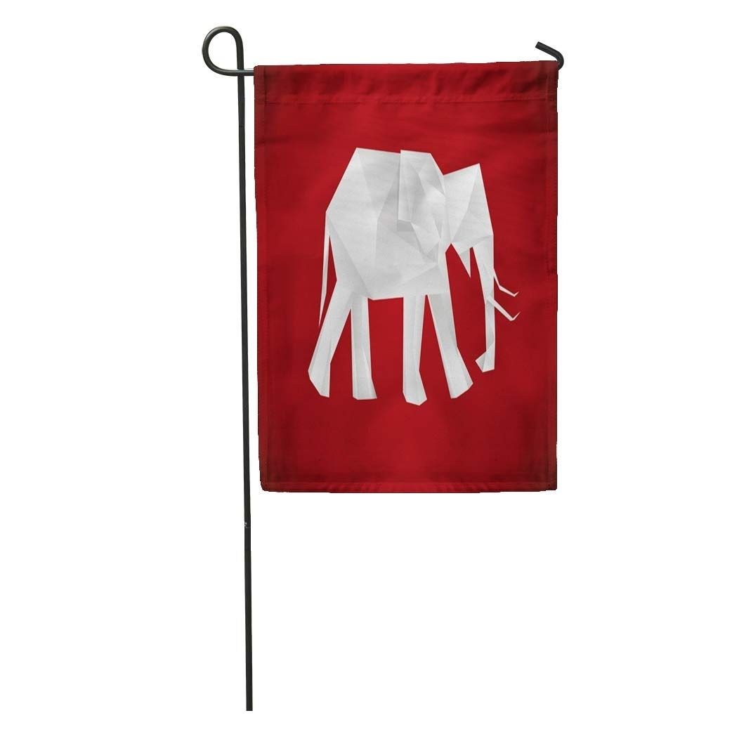 Photo of Origami Elephant on Red Polygon Geometric Blank Blend Garden Flag Decorative