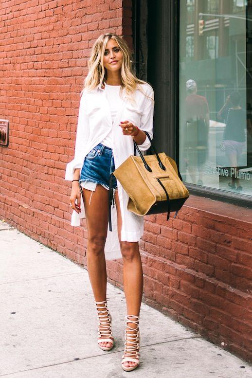 MODERNIZE SEUS LOOKS COM JEANS | Shirtdress, Cutoffs and Blond