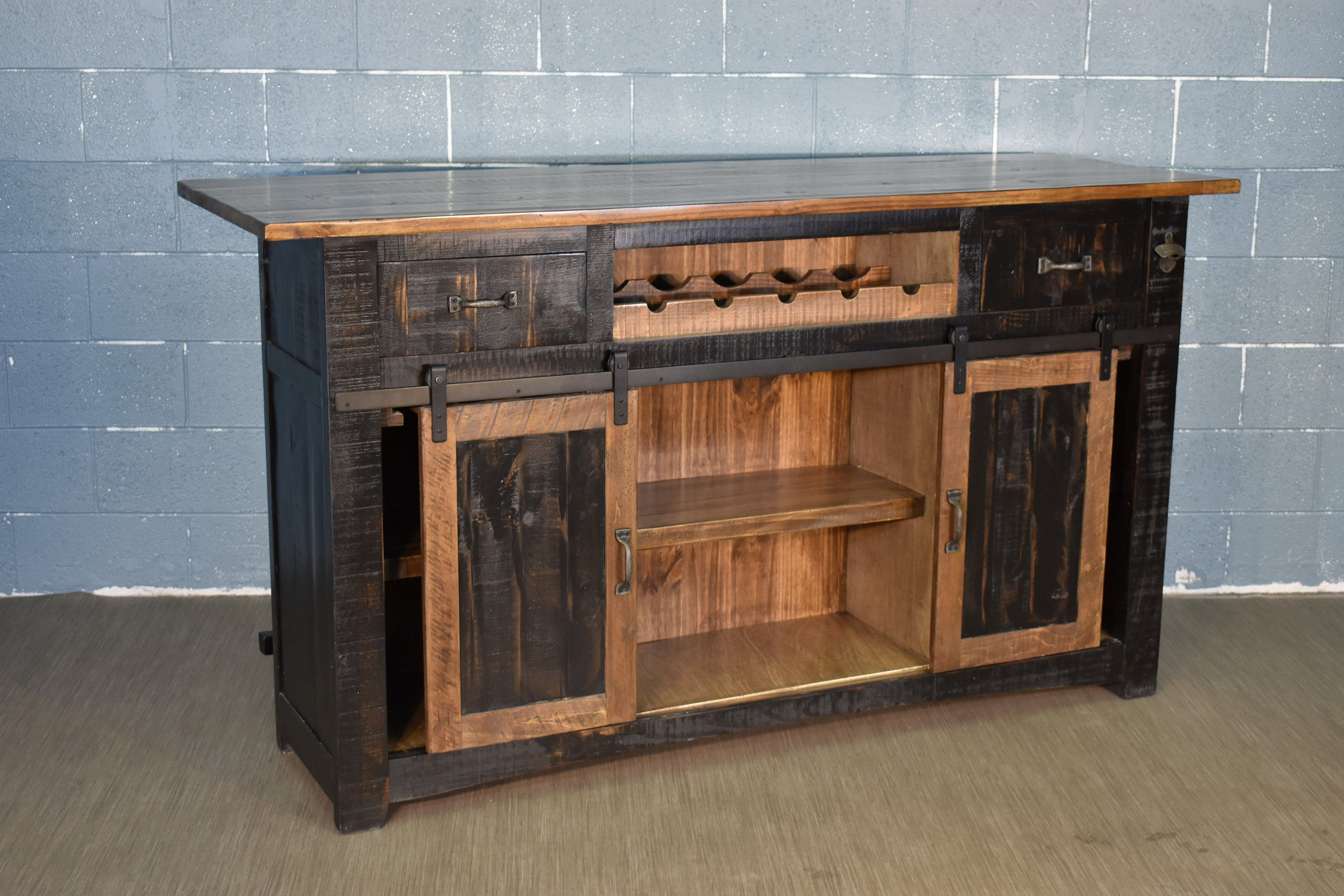 Rustic Solid Wood Bar With Barn Doors Wone Rack Storage And Counter Space Wood Coffee Table Rustic Wood Bars Solid Wood Furniture