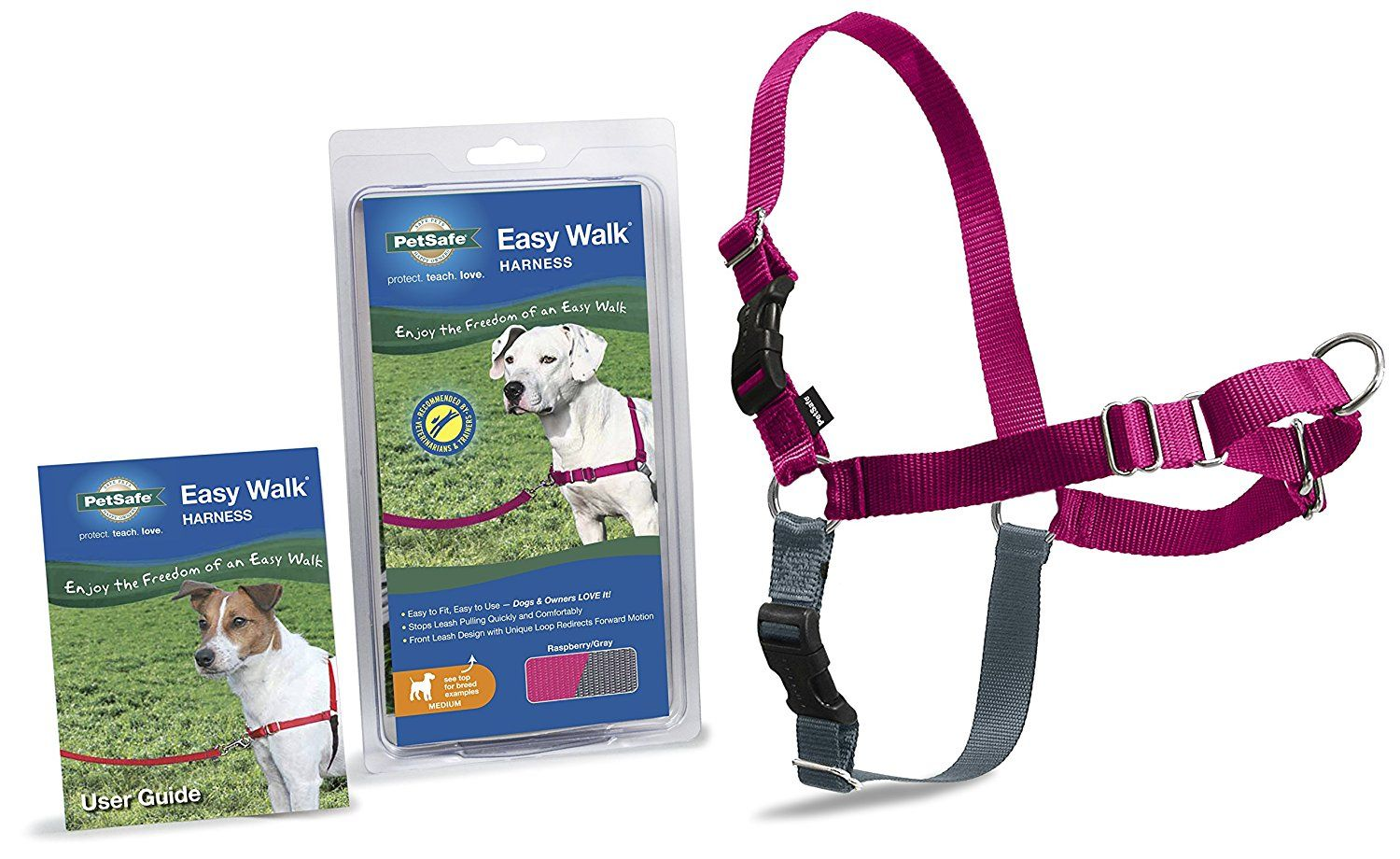 Amazon Com Petsafe Easy Walk Harness Medium Raspberry Grey For