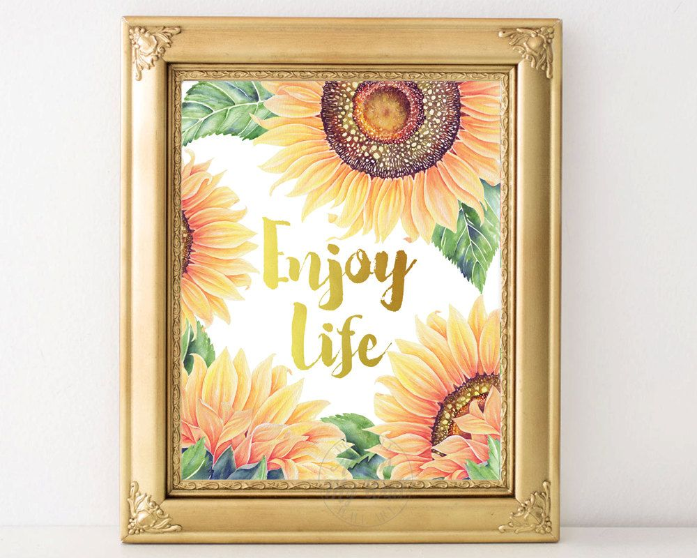 Enjoy life, inspirational quote, wall art decor, motivational ...
