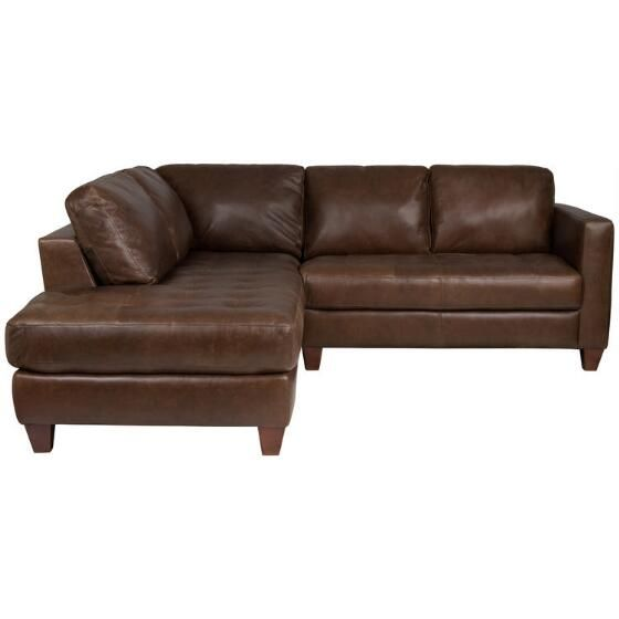 Hara Leather Sofa Chaise  Olly Chestnut