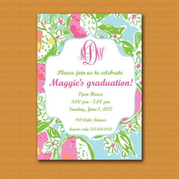 Lilly pulitzer inspired invitation graduation invite birthday lilly pulitzer inspired invitation graduation invite birthday invite sweet 16 bridal shower filmwisefo Images