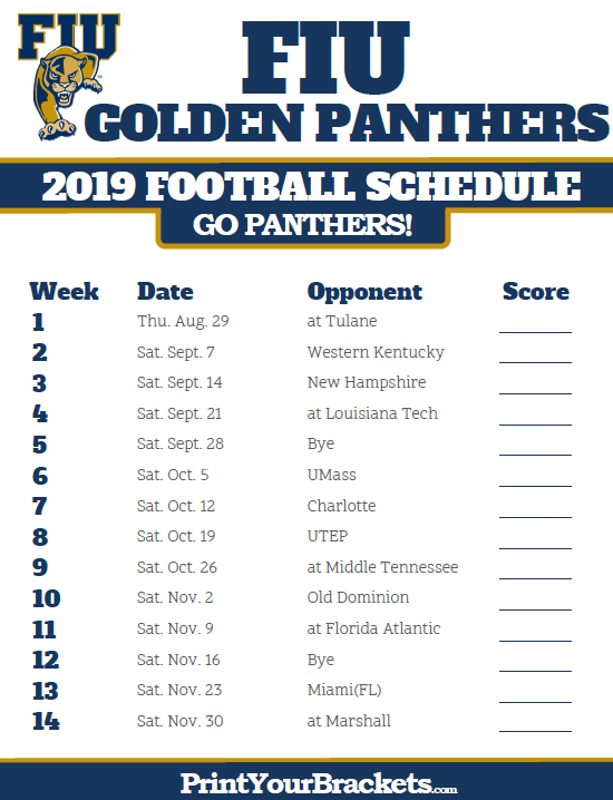 photo about Michigan Football Schedule Printable named Printable 2019 FIU Golden Panthers Soccer Routine