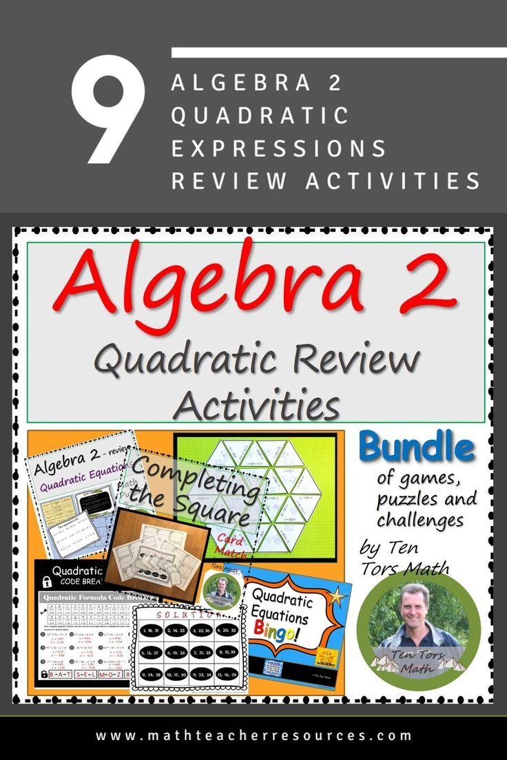 Algebra 2 quadratics review bundle quadratics algebra