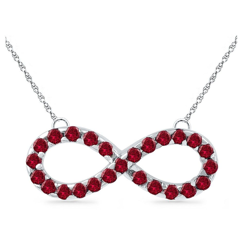 Created ruby prong set infinity necklace in sterling silver womenus