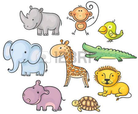 Conjunto De Dibujos Animados De Animales Africanos Animales Dibujos Animados Animales Africanos Vectores Animales