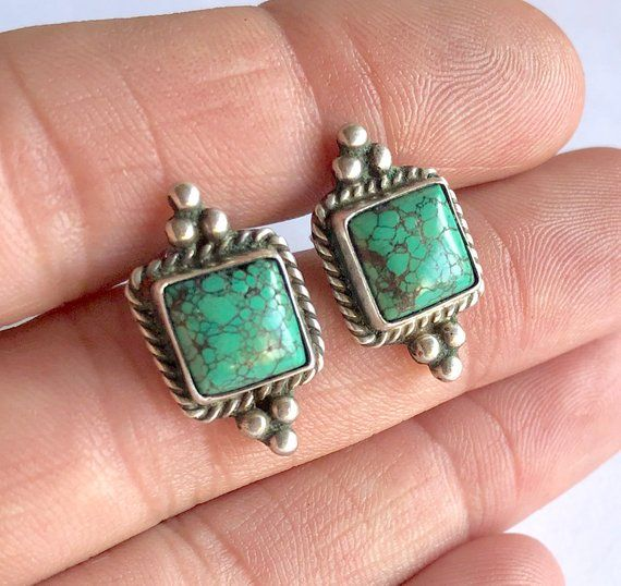 0e2b9d4c8 Pauline Foutz Signed Navajo Sterling Silver Green Spiderweb Turquoise Stud  Earrings, Turquoise Earri