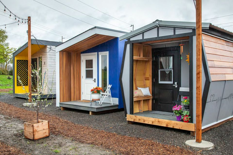 These Tiny Home Inspired Sleeping Pods Provide Shelter For Portland S Homeless Women Portland Mont Homeless Shelter Design Sleeping Pods Tiny House Village