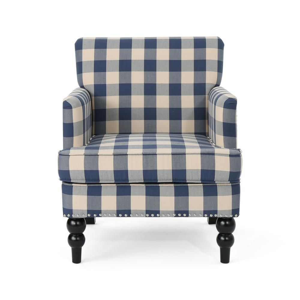 Best Noble House Harrison Blue Checkerboard Fabric Club Chair 400 x 300