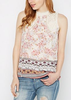 Crochet Floral High Neck Tank by Clover + Scout®