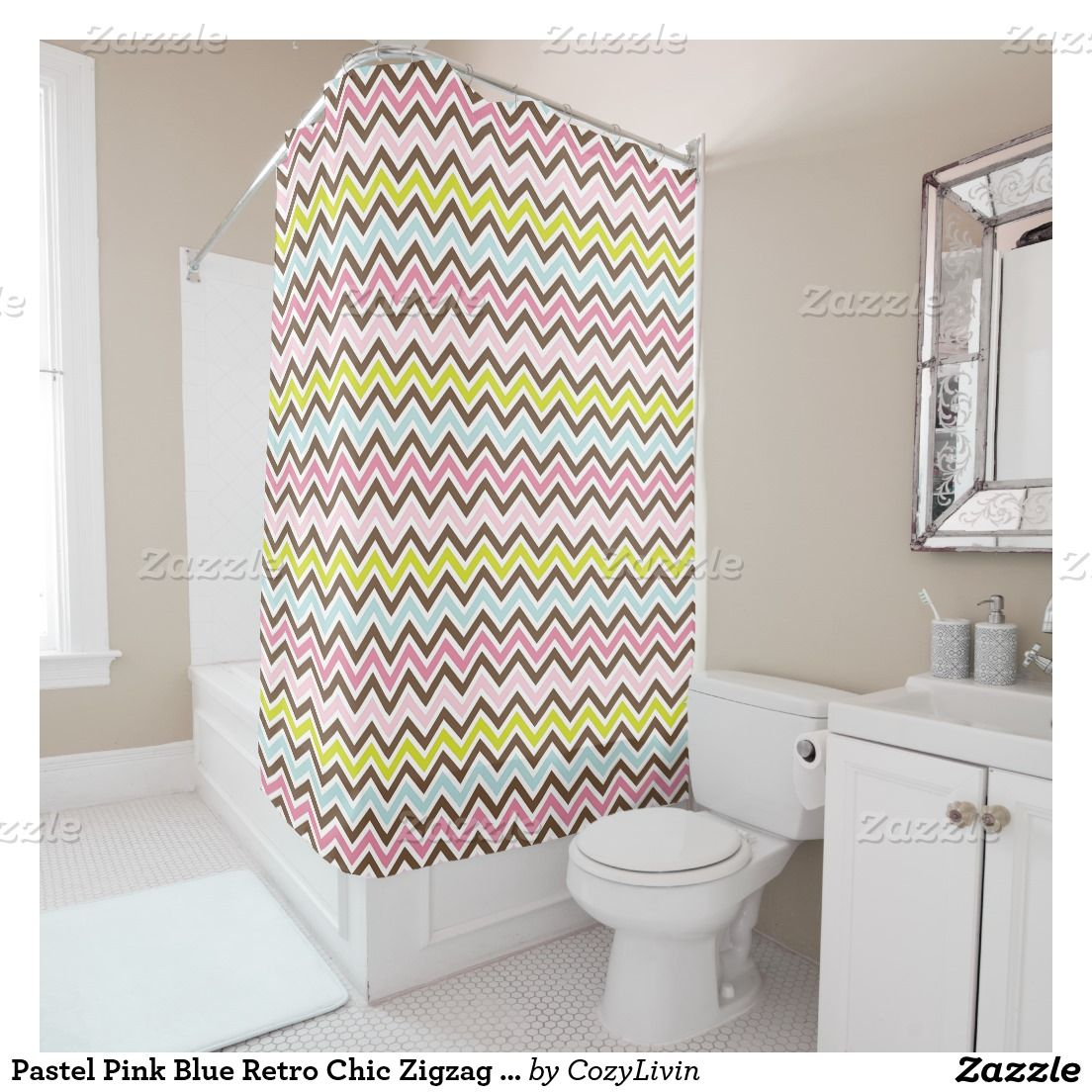 Pastel Pink Blue Retro Chic Zigzag Stripes Pattern Shower Curtain Ornate Elegant And Funky Hipster Motif For The Artistic Interior Designer