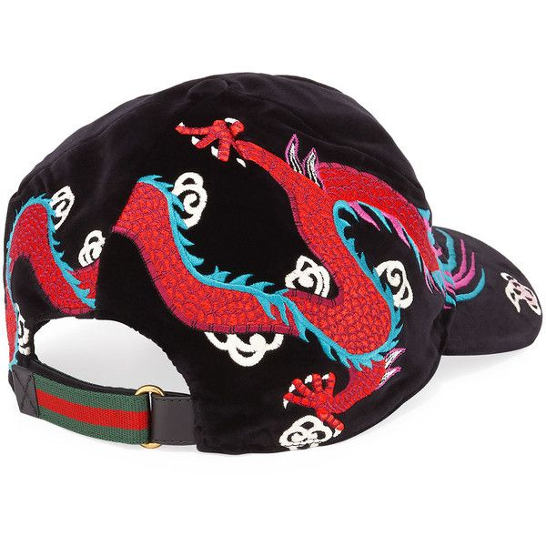 6deeb1c4100 Gucci Velvet Dragon-Embroidered Baseball Cap ( 1