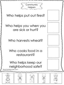 4-Community Helpers Answer the Question Worksheets. Preschool ...