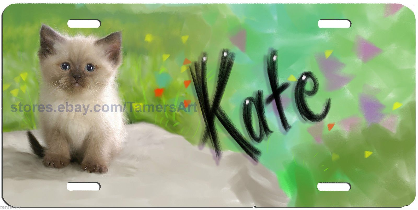 CUTE KITTY CAT LICENSE PLATE PERSONALIZED