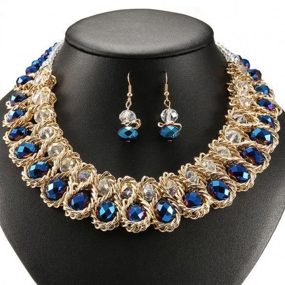 Charming Women Fashion Pendant Chain Crystal Choker Statement Bib Necklace