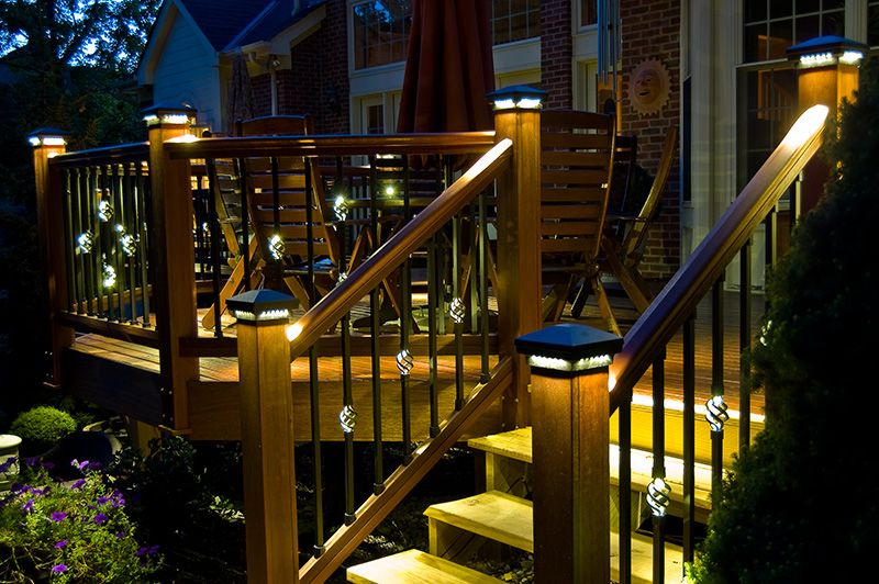 Elegant Spectacular Deck Lighting: DEKOR%u2122 Post Caps And Illuminations Balusters Pictures Gallery