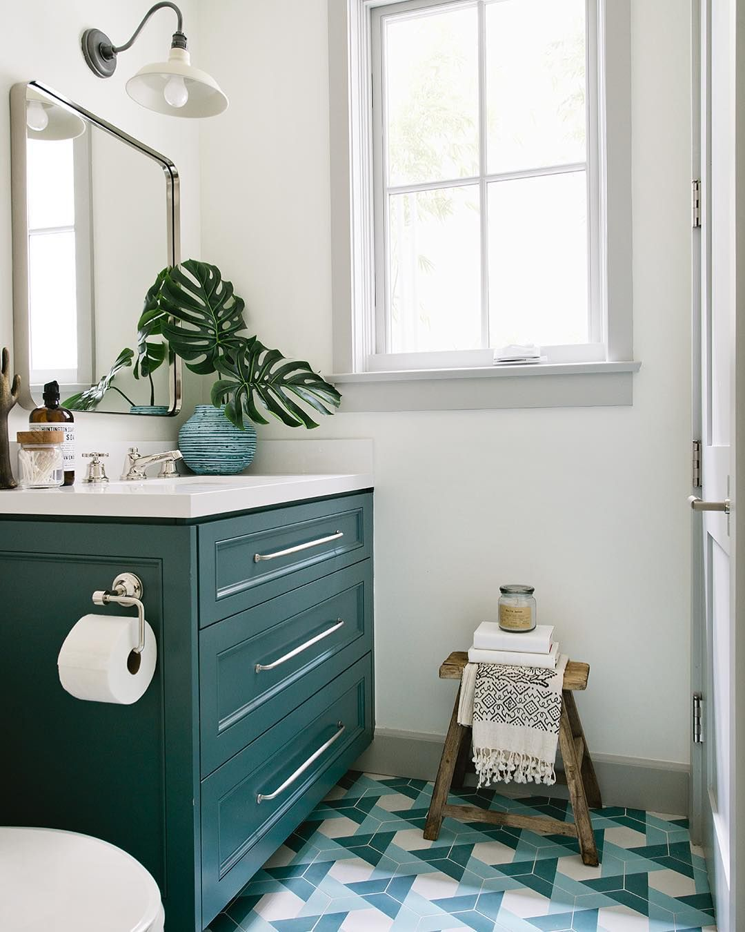 Bold Teal Bathroom With Teal Green Vanity And Matching Geometric Tile Colorful Home Decor Inspiration Teal Bathroom Decor House Bathroom Designs Teal Bathroom