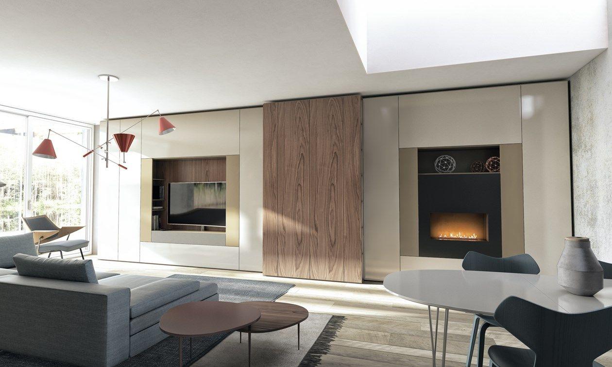 Pareti Attrezzate Moderne Con Camino parete attrezzata moderna roomy di caccaro | parete