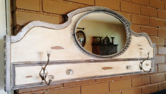 Vintage Coat Rack Mirror by Antique2Chic on Etsy