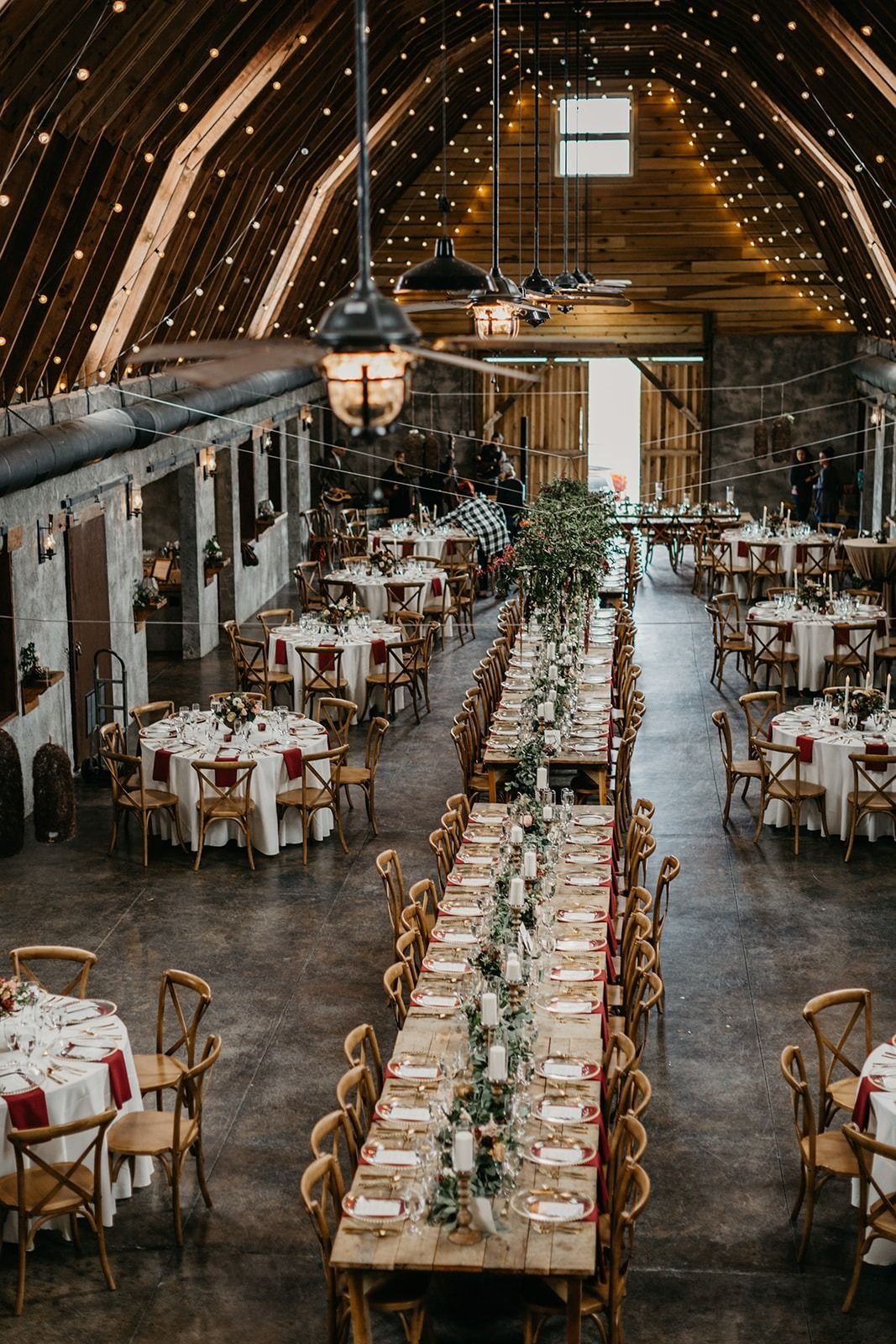 Overlook Barn reception layout with farm tables and