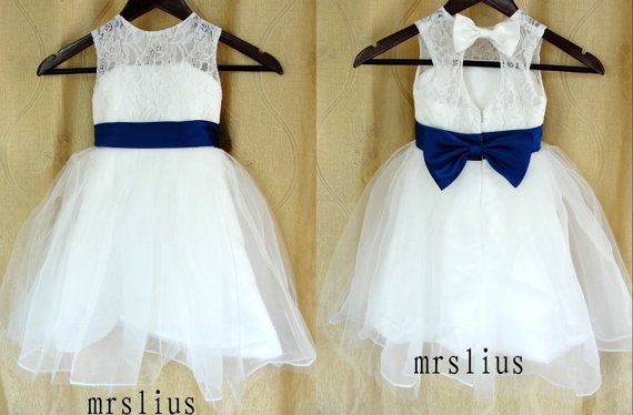 Princess Ivory / White Lace  Navy blue Bow Flower Girl by mrslius