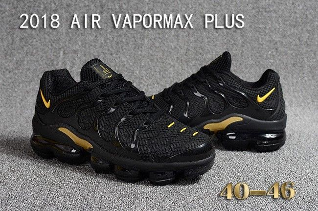 Men Nike Air VaporMax Plus Coal Black Gold  b45d2790d